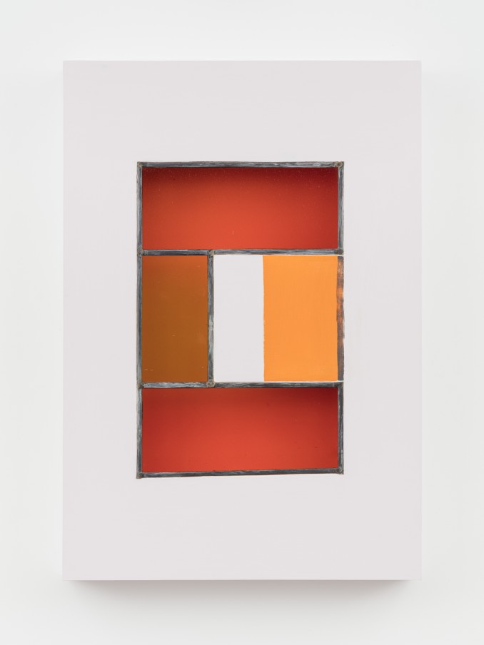 Jessica Warboys HOUR II, 2019 Acrylic, antique glass, lead came, plywood 87 x 59.7 x 8.9 cm 34 1/4 x 23 1/2 x 3 1/2 in