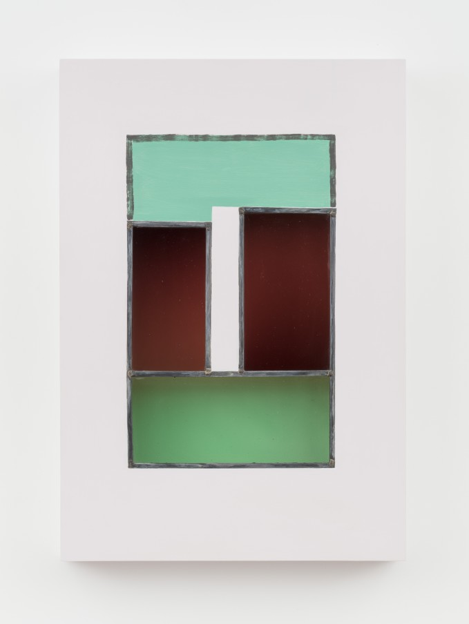 Jessica Warboys HOUR III, 2019 Acrylic, antique glass, lead came, plywood 87 x 59.7 x 8.9 cm 34 1/4 x 23 1/2 x 3 1/2 in