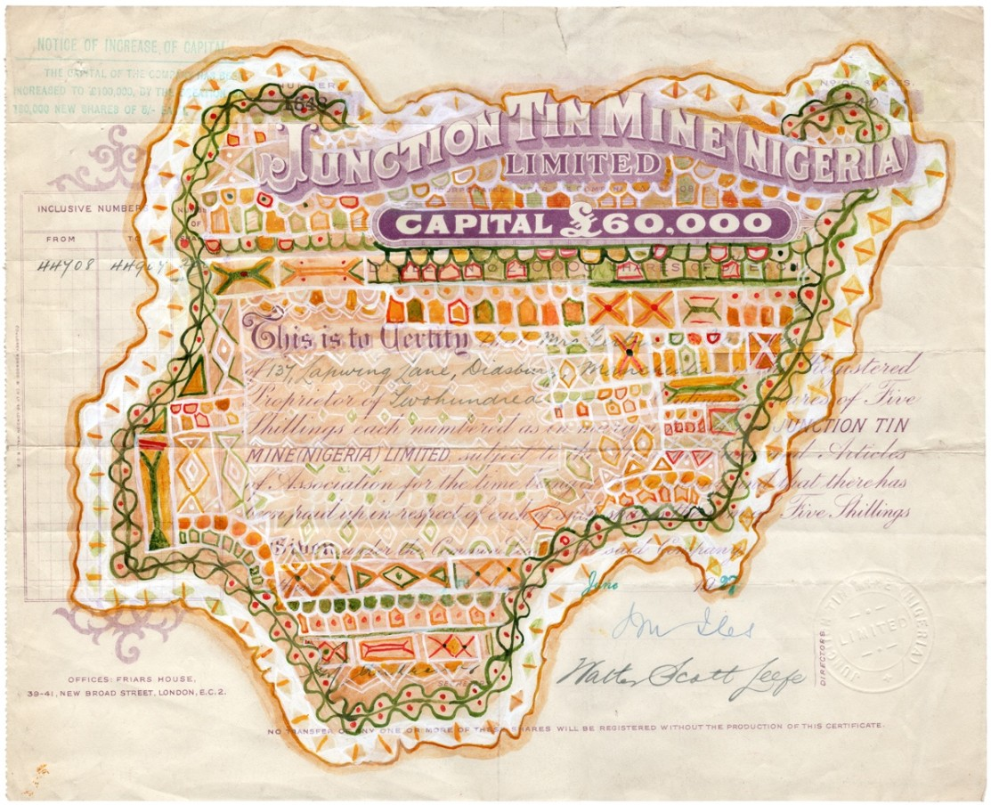 Hew Locke, Junction Tin Mine Nigeria, 2014, acrylic on found share certificate, 25.1 x 31 cm, 9 7/8 x 12 1/4 in