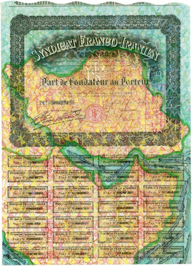Hew Locke, Syndicat Franco Iranien, 2014, acrylic on found share certificate, 43.7 x 31.2 cm, 17 1/4 x 12 1/4 in