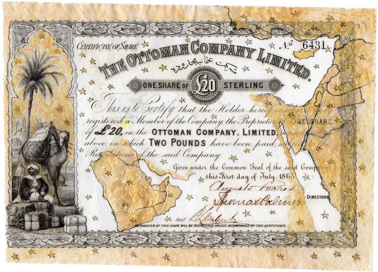 Hew Locke, The Ottoman Company Limited, 2014, Acrylic on found share certificate, 18.4 x 26 cm, 7 1/4 x 10 1/4 in
