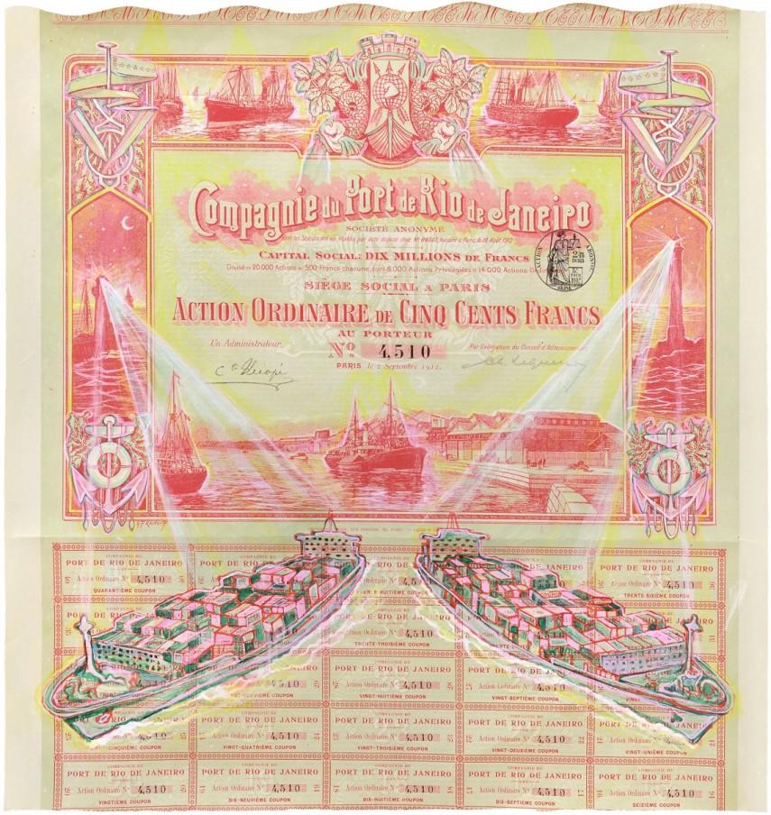 Hew Locke, Compagnie de Port de Rio de Janeiro 1, 2014, acrylic on share certificate, 37.2 x 36 cm