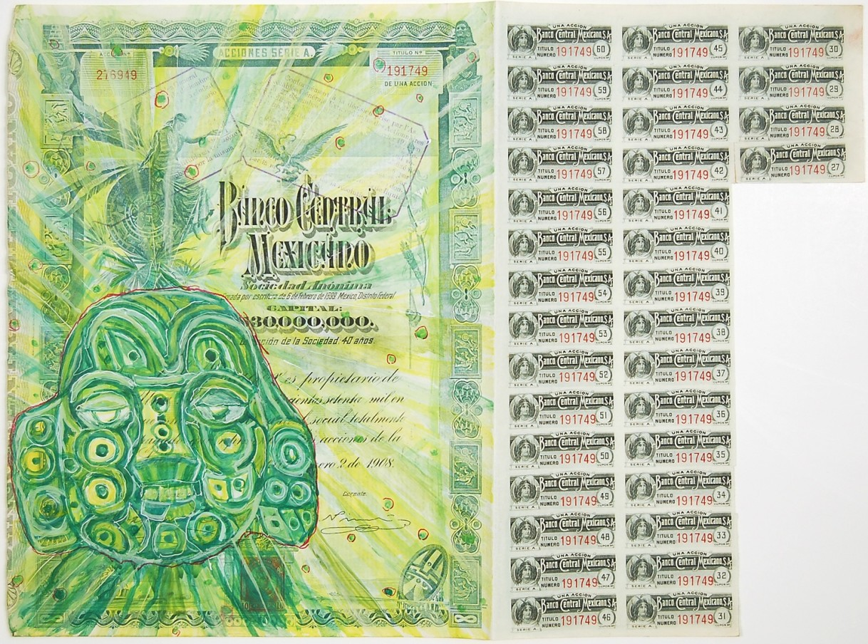 HEW LOCKE Banco Central Mexicano, 2009 Acrylic paint and felt pen on paper 39.8 x 48.1 x 4.1 cm 15 11/16 x 18 15/16 x 1 9/16 in