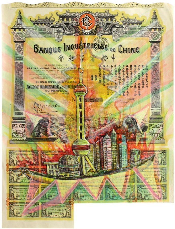HEW LOCKE Banque Industrielle de Chine, 2012 acrylic ink on old certificates 49.5 x 39.2 x 4.1 cm 19 1/2 x 15 7/16 x 1 9/16 in