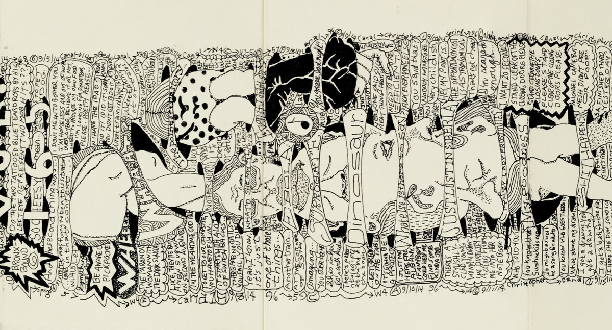 Journal of Evidence Weekly Volume 165 (detail) ink on paper (bound accordion book, framed) 231 x 26 cm 91 x 10 1/4 in