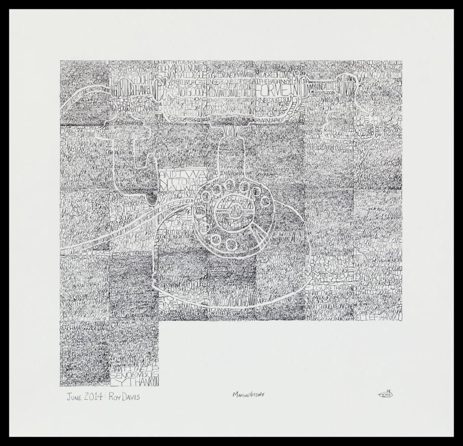 Making History: Case Histories June 2014: Roy Davis (verso), 2014 graphite on Bristol Board 41.9 x 43.5 cm 16 1/2 x 17 1/8 in