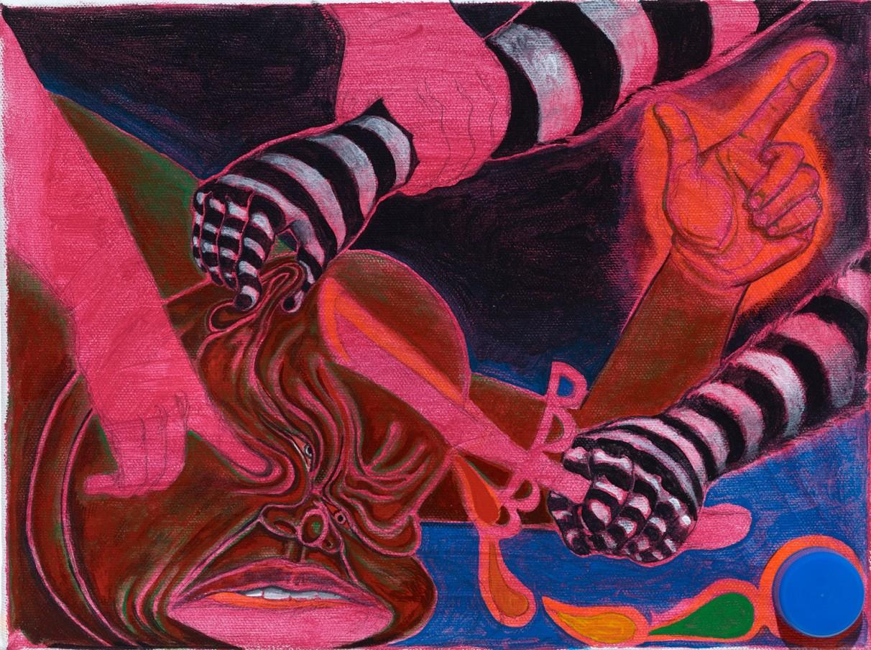 Trenton Doyle Hancock Skullduggery, 2014 acrylic and mixed media on canvas 30.5 x 22.9 x 2.54 cm 12 x 9 x 1 in