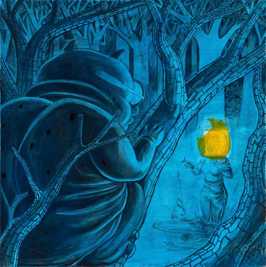 Trenton Doyle Hancock Spotting the Trentbear Blues, 2014 acrylic and mixed media on canvas 50.8 x 50.8 x 5.08 cm 20 x 20 x 2 in