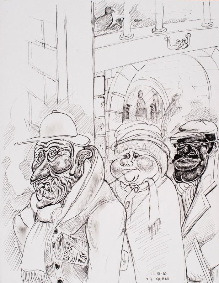 Trenton Doyle Hancock The Queue, 2010 ink on paper framed: 47 x 38.1 x 15.2 cm 18 1/2 x 15 x 6 in