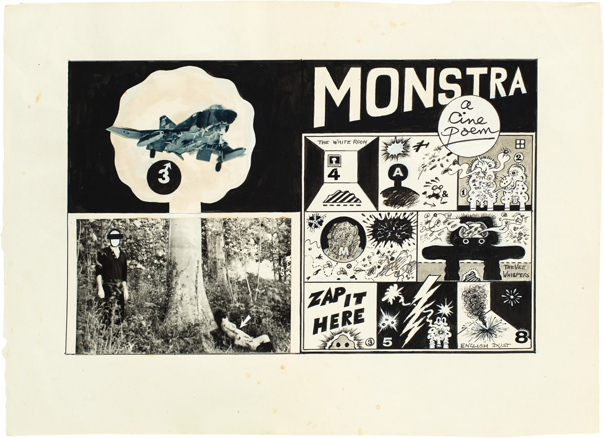 Jeff Keen, Monstra Collage, 1969, photo collage and ink drawing, 35 x 47 cm, 13 3/4 x 18 1/2 in