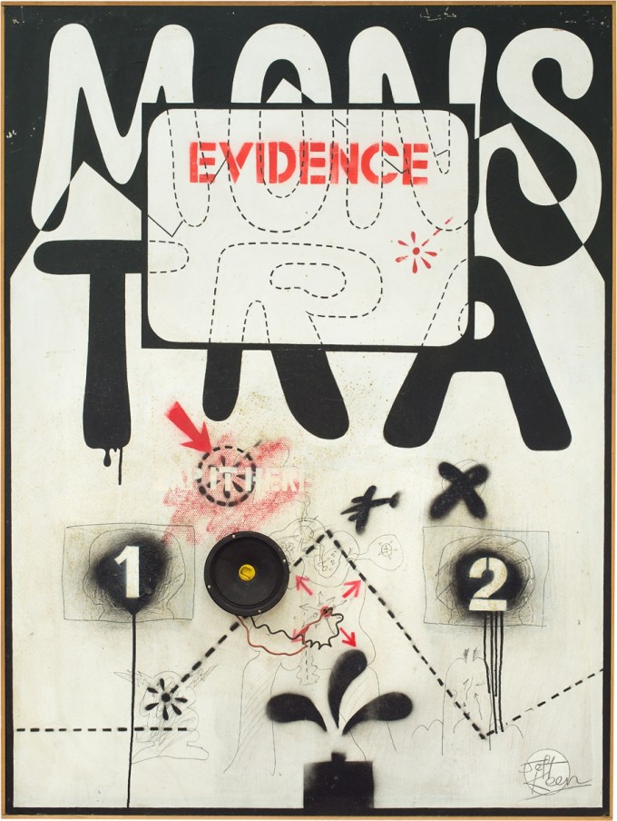 Jeff Keen, Monstra Evidence, 1967, mixed media on wood, 93 x 124 cm, 36 5/8 x 48 7/8 in