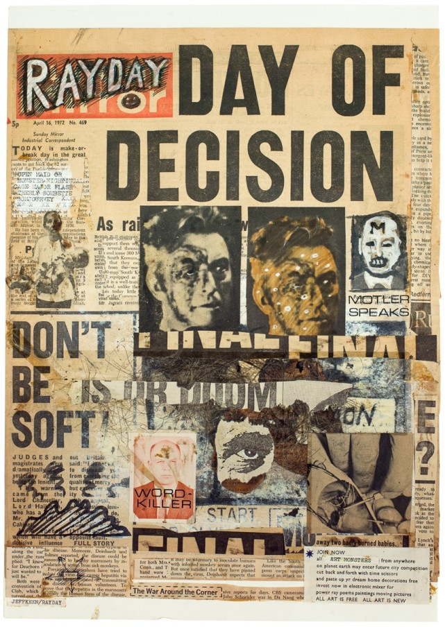 Jeff Keen, Rayday Day of Decision, 1972, paint and newspaper collage, 48.5 x 36.5 cm, 19 1/8 x 14 3/8 in