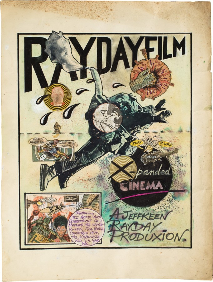Jeff Keen, Rayday Film, 1970, comic book collage, ink and watercolour, 60.5 x 51.8 cm, 23 7/8 x 20 3/8 in