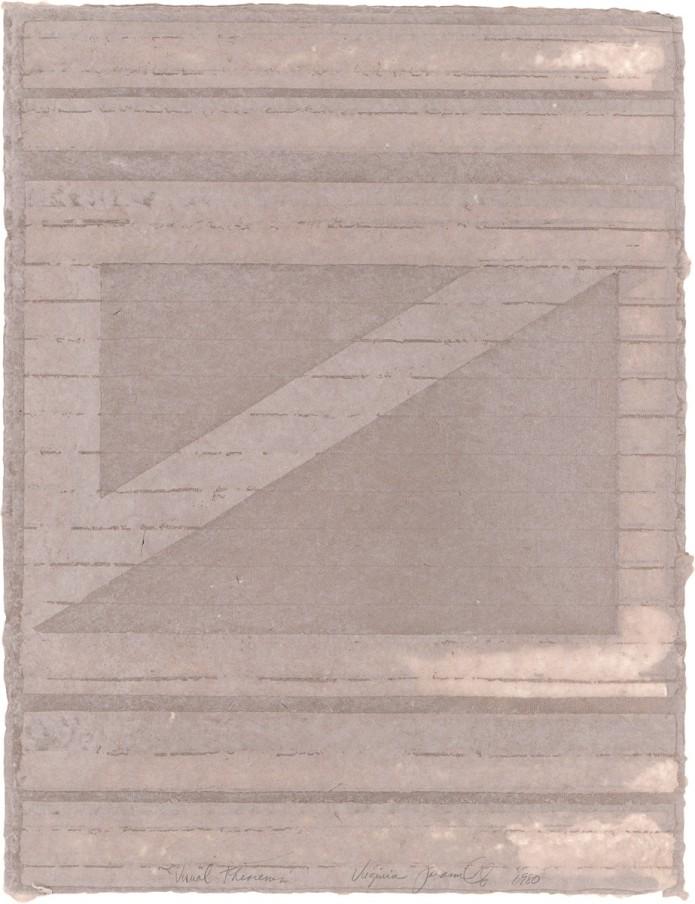 Virginia Jaramillo, Visual Theorems 10, 1980, Linen Fibre and Earth Pigments, 61 x 47 cm, 24 x 18 1/2 in