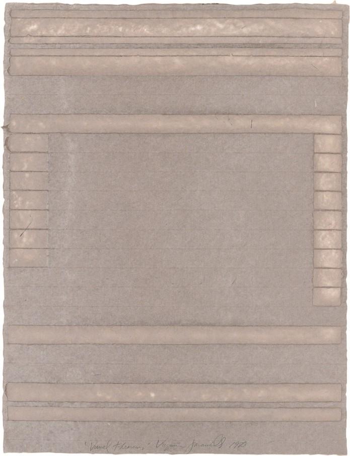 Virginia Jaramillo, Visual Theorems 12, 1980, Linen Fibre and Earth Pigments, 61 x 46.4 cm, 24 x 18 1/4 in