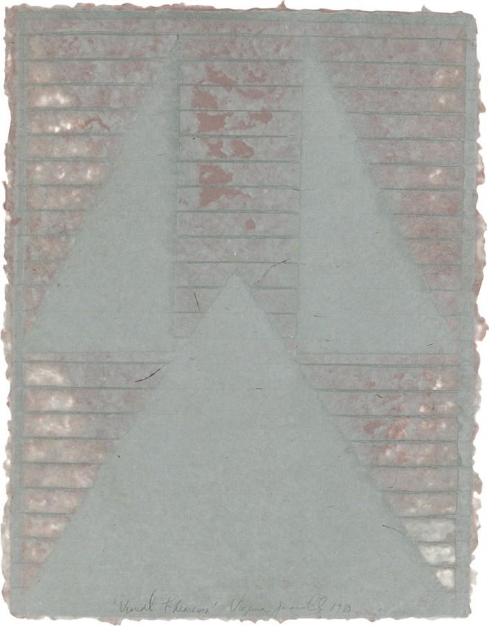 Virginia Jaramillo, Visual Theroems 11, 1980, Linen Fibre and Earth Pigments, 62.9 x 48.3 cm, 24 3/4 x 19 in