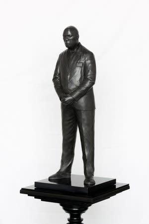Tom Price, Midnight Temple (Figure 1, Astoria Walk), 2011, Bronze, perspex and wooden base, 179.5x36cm