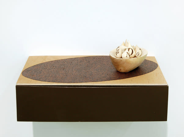 Jane Wilbraham, Green Shoots, 2010-11, sycamore and plywood with pyrography, 30x18.5x6cm