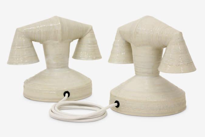 Richard Slee, Ghost, 2013, ceramic, telephone cord, 25 x 32 x 20 cm (each)