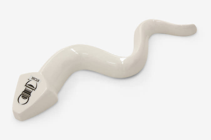 Richard Slee, Tracker Snake, 2013, ceramic, tracking decal, 57.5 x 18.3 x 6.8 cm