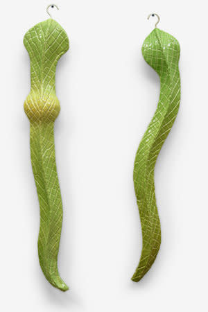 Richard Slee, Hanging Snakes, 2012, glazed ceramic, 64 x 10 x 27 cm (each)