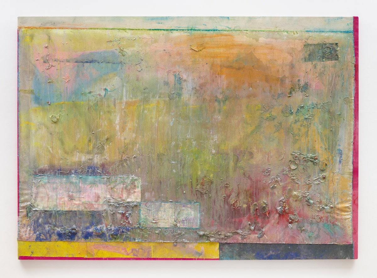 Frank Bowling Jedimcgee, 2019 Acrylic paint and acrylic gel with found additions on collaged canvas 206.6 x 291 cm 81 3/8 x 114 5/8 in