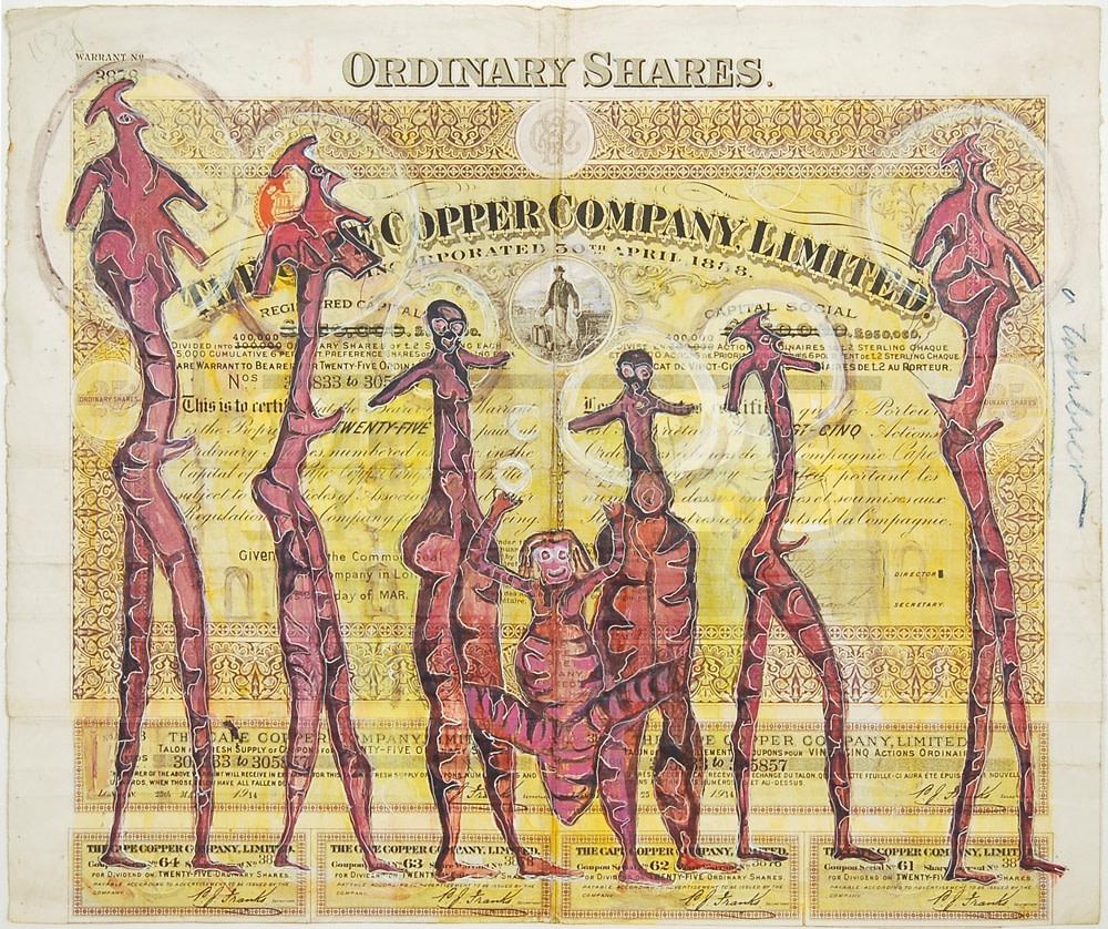 HEW LOCKE Cape Copper, 2009 Acrylic paint and felt pen on paper 16 3/8 x 19 1/8 x 1 9/16 in 41.6 x 48.6 x 4.1 cm
