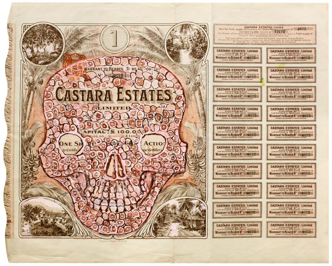 HEW LOCKE Castara Estates, 2012 Acrylic ink on old certificates 15 11/16 x 18 15/16 x 1 9/16 in 39.8 x 48.1 x 4.1 cm