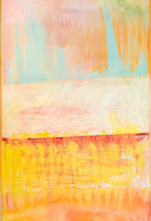 Frank Bowling, Dawn Gallop, 2015, acrylic on canvas, 272.3 x 186.2 cm