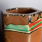 Hamada Shoji 濱田庄司, Persimmon glazed six-sided Vase 柿釉赤絵花生, 2010s