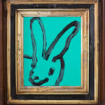 Untitled, Black Bunny on Teal