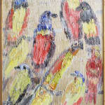 Untitled, Birds in Blue, Red, and Yellow