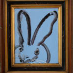 Untitled, Black and White Bunny on Blue