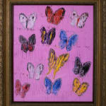 Untitled, Multicolored Butterflies on Pink Background