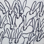 Hunt Slonem, White Bunny on Blue, 2019