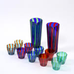 Campbell-Rey, Red and blue 'Rosanna' Murano tumbler