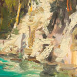 Gerard_Byrne_Bay_View_Rab_Island_Croatia_contemporary_impressionism_painting_detail