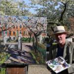 Gerard_Byrne_painting_plein_air_The_Secret_Garden_No_61_Wellington_Road_Dublin_modern_impressionism