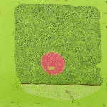 """Maeve D'Arcy """"Coffee Cake"""" Bright green abstract painting with red circle and densely packed black and white dots"""