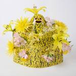 Lorien Stern ceramic yellow ghost with holes to place flowers in