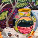 Anna Valdez - colorful oil painting with plants and animal skull
