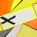 Thomas Scheibitz yellow and orange abstract painting detail view