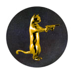 Gold & black rebel with the paws cat glitter sculpture print holding guns