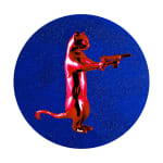Red & blue rebel with the paws cat glitter sculpture print holding guns