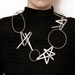 architectural jewellery - OX large necklace - in recycled silver by architectural art jeweller Ute Decker