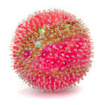 A foam sphere covered in bright pink sequins and clear beads, with a broad band of gold sequins through the middle.