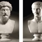 Bust of Marcus Aurelius (121-180 AD) & Bust of Domitianus (51-96 AD)