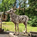 standing stag sculpture in teak driftwood