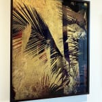 Valda bailey, palm series, Print on glass, hand gilded with gold leaf, graphic shapes, palm leafs, golden brown, shadows, luscious gold, warm vibes, MMX Gallery, tropical art vibes
