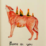 jürgen böheimer artwork drawing of a burning red orange wolf with the handwritten text flame on you